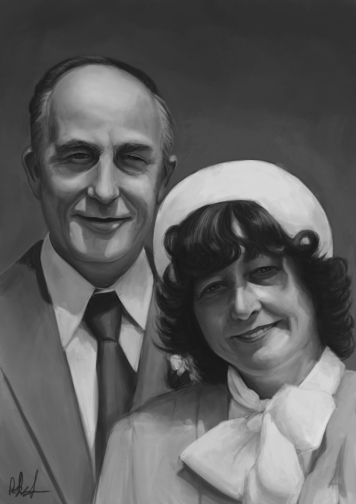 Painting Of Grandparents by Russtiel