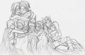 BatFamily Hug by SilverxStarxDragon