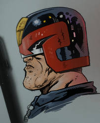 Dredd Head, brushpen and Manga Studio