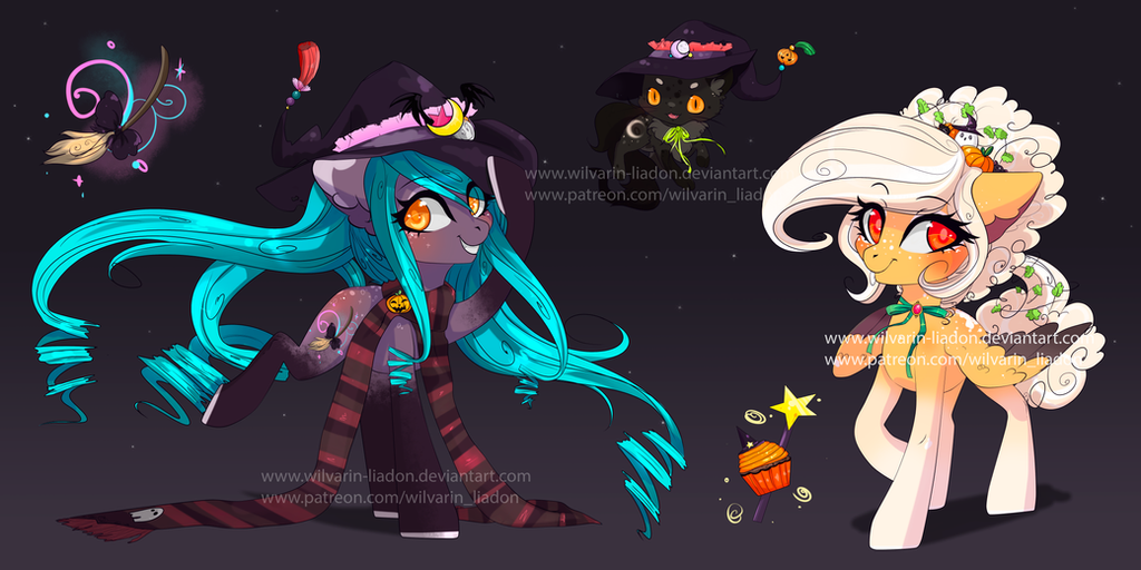 Adoptable Auction: Halloween Sisters + pet[CLOSED] by Wilvarin-Liadon