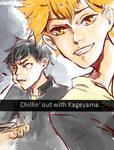 Kageyama choking on food