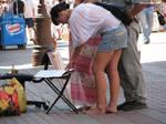 Barefoot girl walking barefoot in public