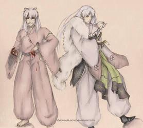 Inuyasha and Sesshoumaru by ShadowsIllusionist
