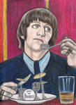 Ringo Starr eating drums