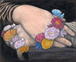 Mona Lisa's hands with flowers by gagambo