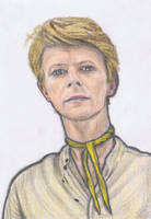 David Bowie wearing a scarf by gagambo