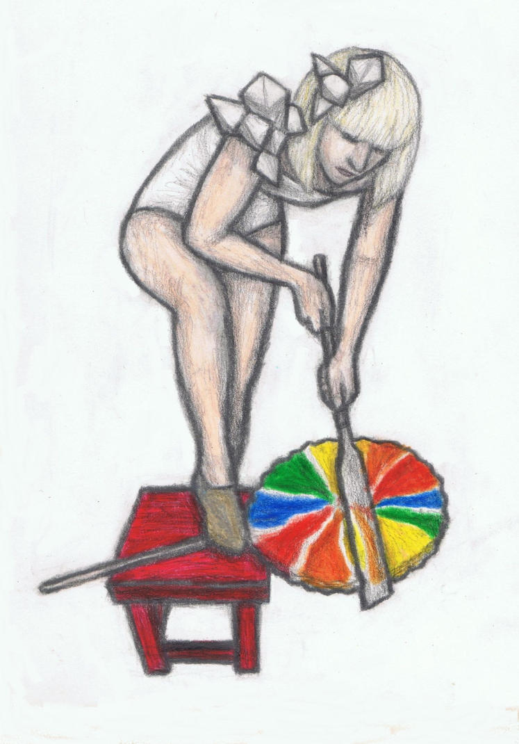 Lady Gaga sawing a giant lollipop in half by gagambo