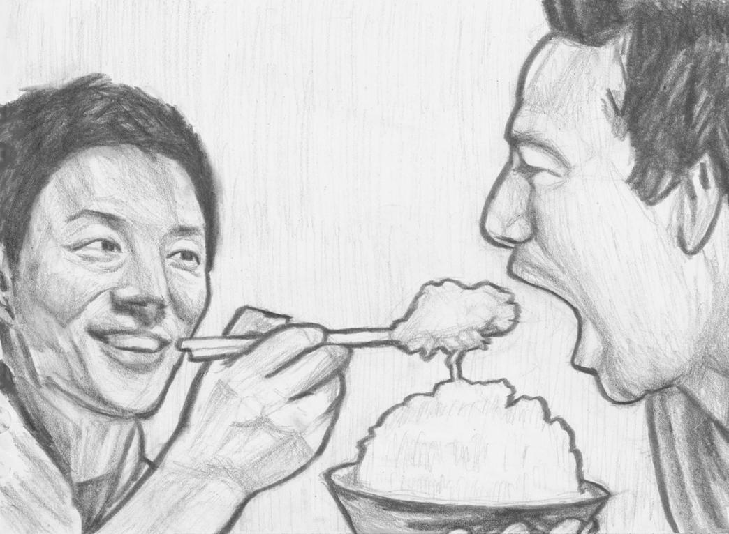 Matsuoka Shuzo feeding Sean Flanery steamed rice by gagambo