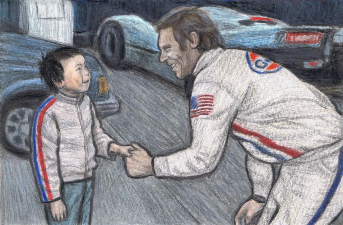Steve McQueen greeting a young fan by gagambo