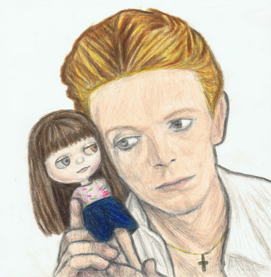 David Bowie with a Blythe (eye to eye) by gagambo