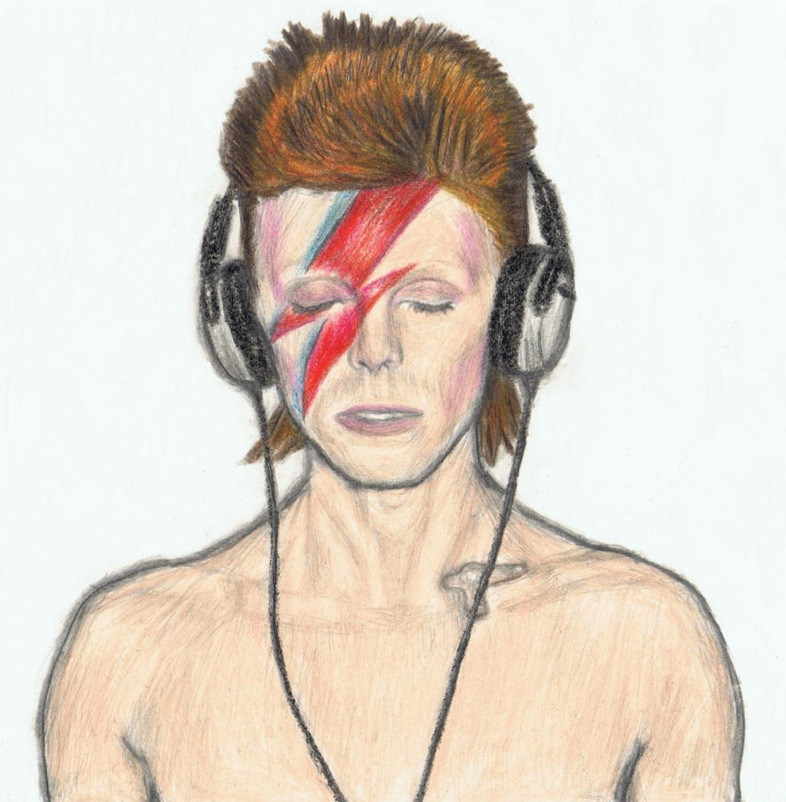Aladdin Sane with headphones by gagambo