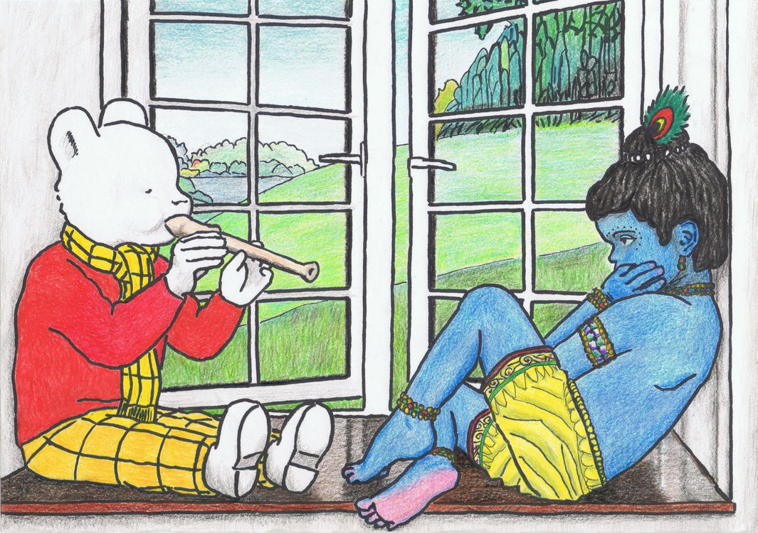 Rupert the Bear and little Krishna by gagambo