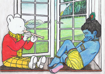 Rupert the Bear and little Krishna by gagambo