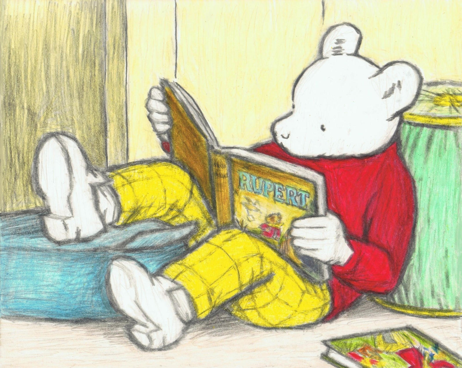 Rupert the Bear reading a Rupert Bear book by gagambo