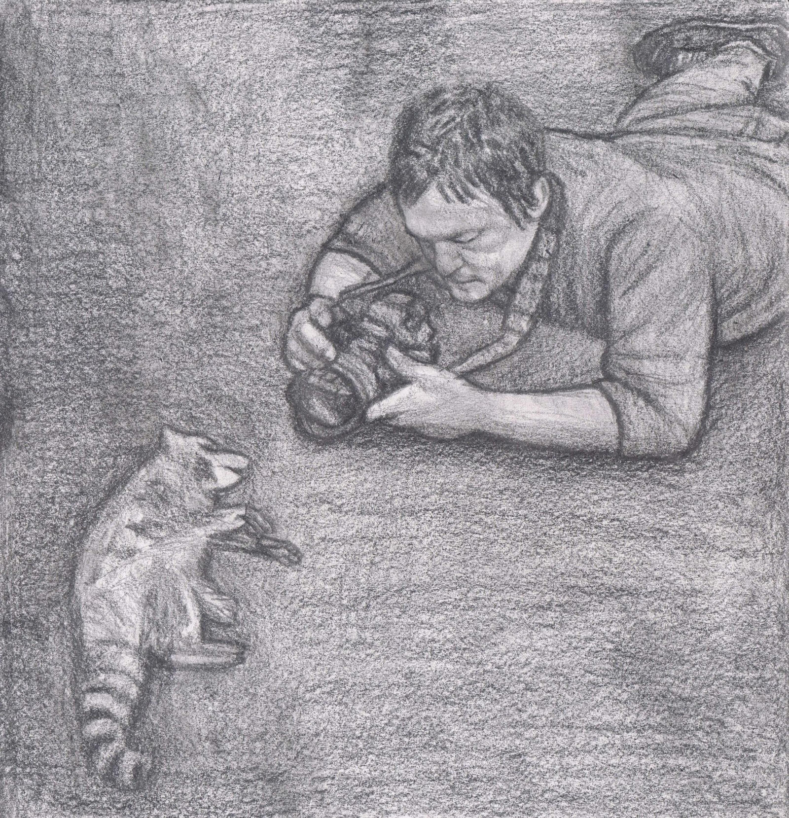 Norman Reedus taking photos of a dead raccoon by gagambo