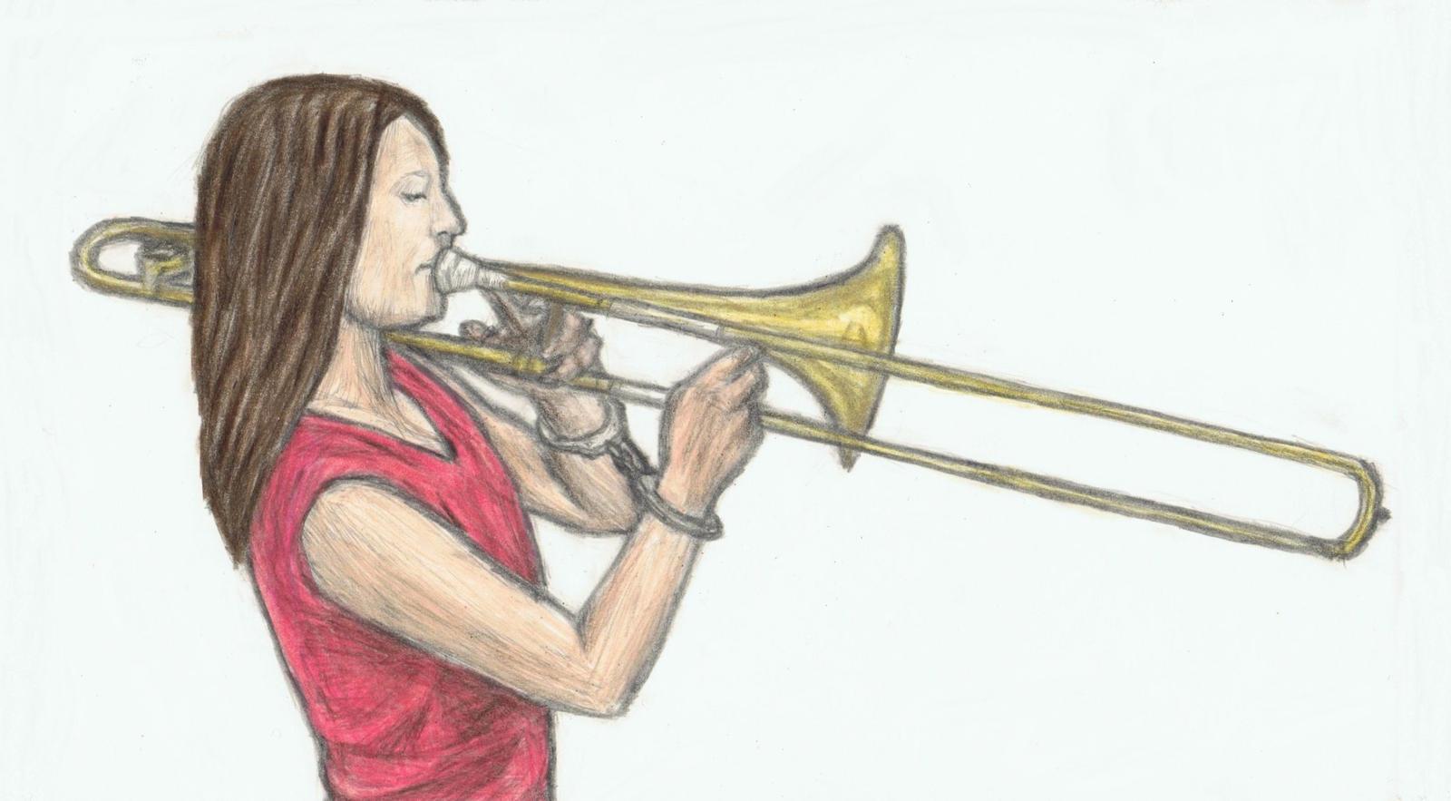 Handcuffed trombone player by gagambo