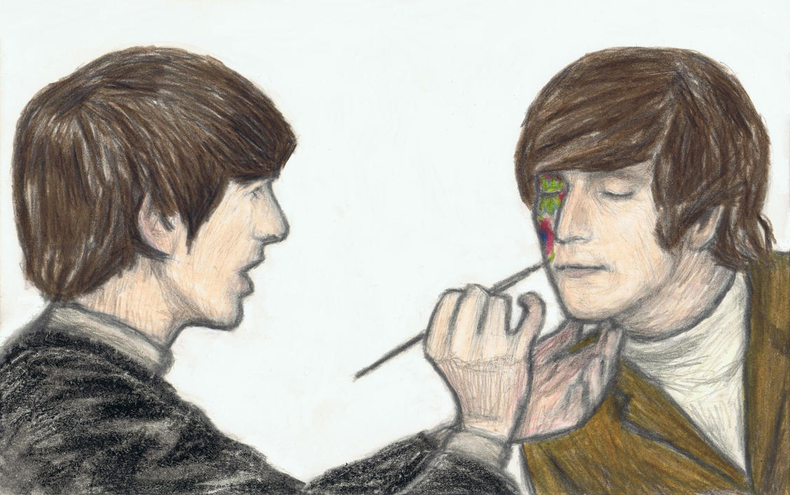 George Harrison painting John Lennon's face by gagambo