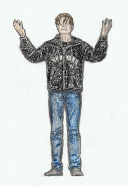 David Bowie in hoodie by gagambo