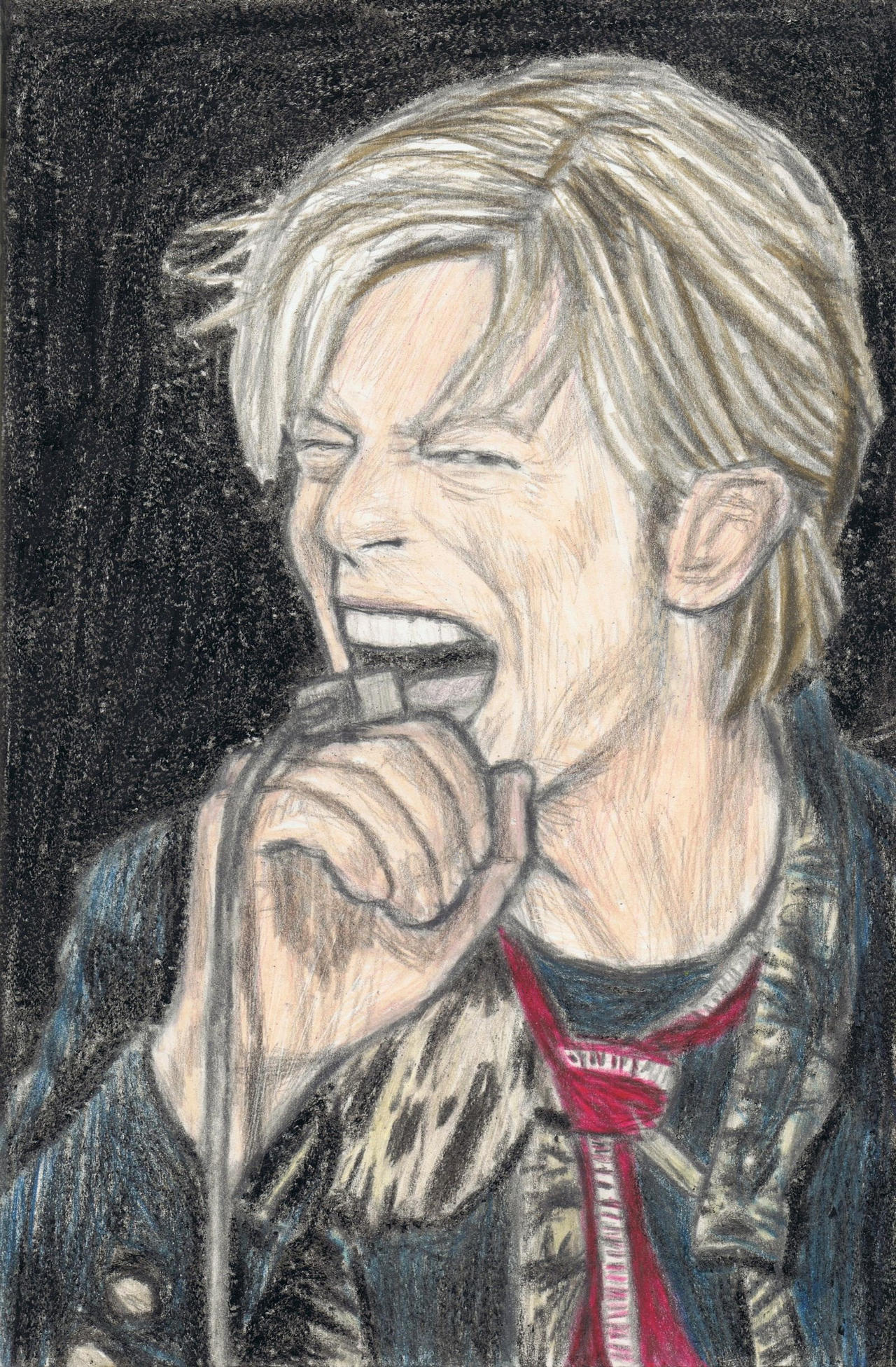 David Bowie doing concert with a microphone ring by gagambo