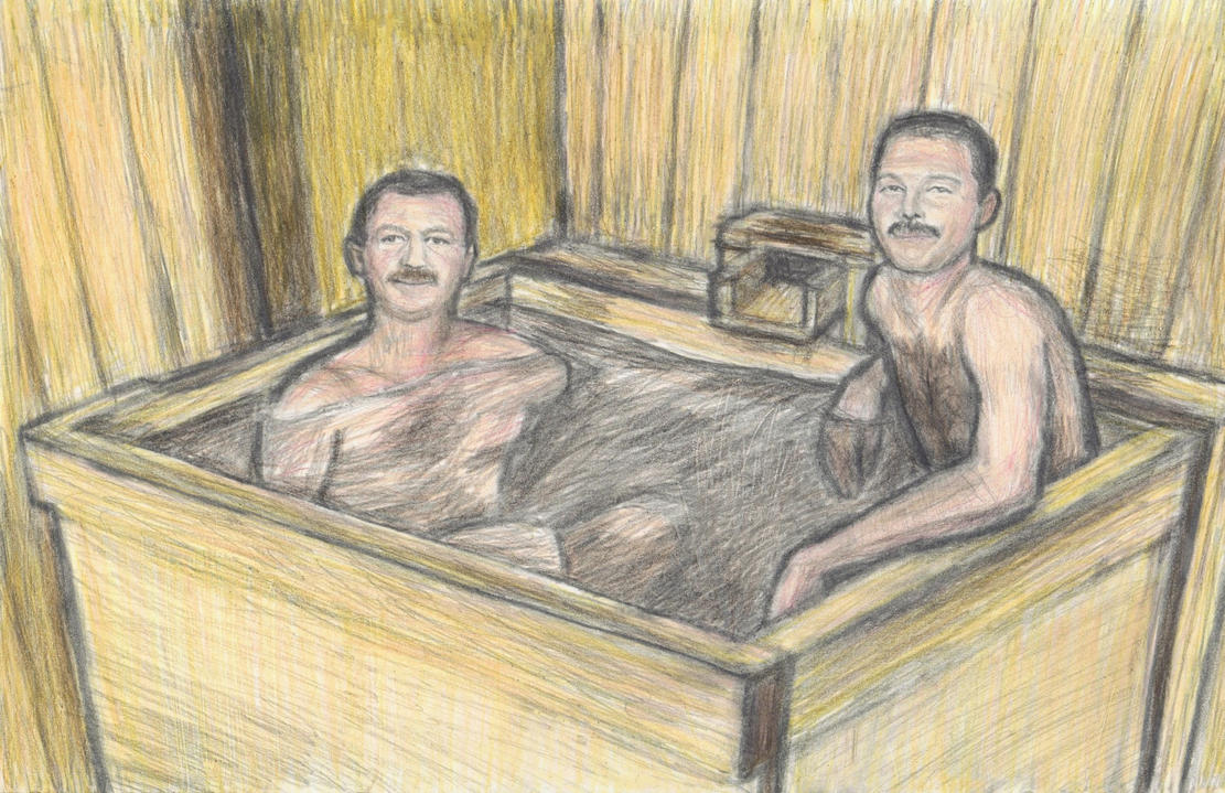 Freddie Mercury taking a SAKE bath with Jim Hutton by gagambo