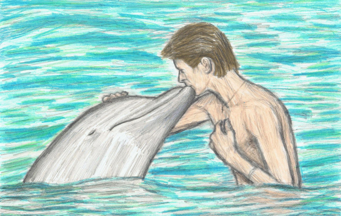 David Bowie with a dolphin by gagambo