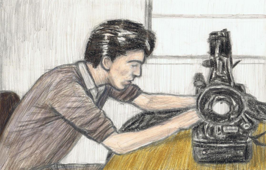 Teenage George Harrison on a sewing machine by gagambo