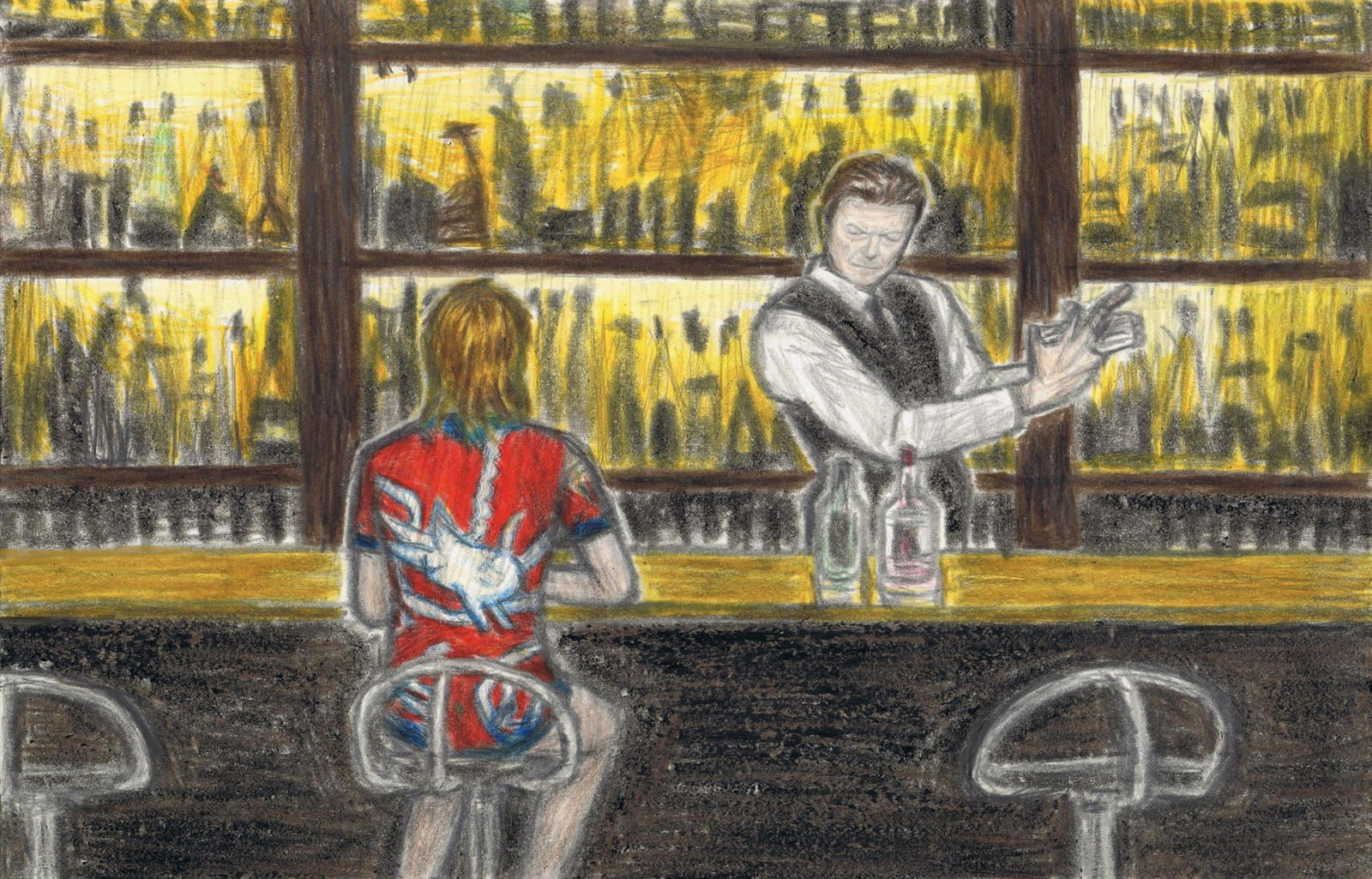 David Bowie as a bartender 2 by gagambo