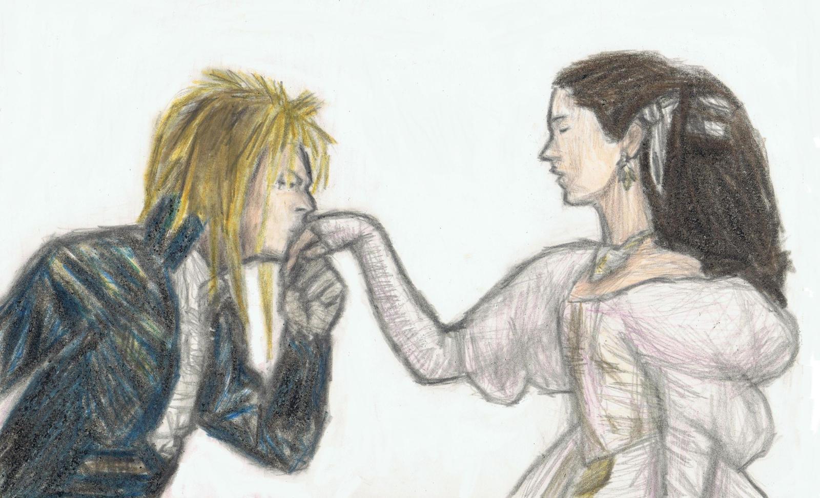 Jareth kissing on Sarah's hand by gagambo