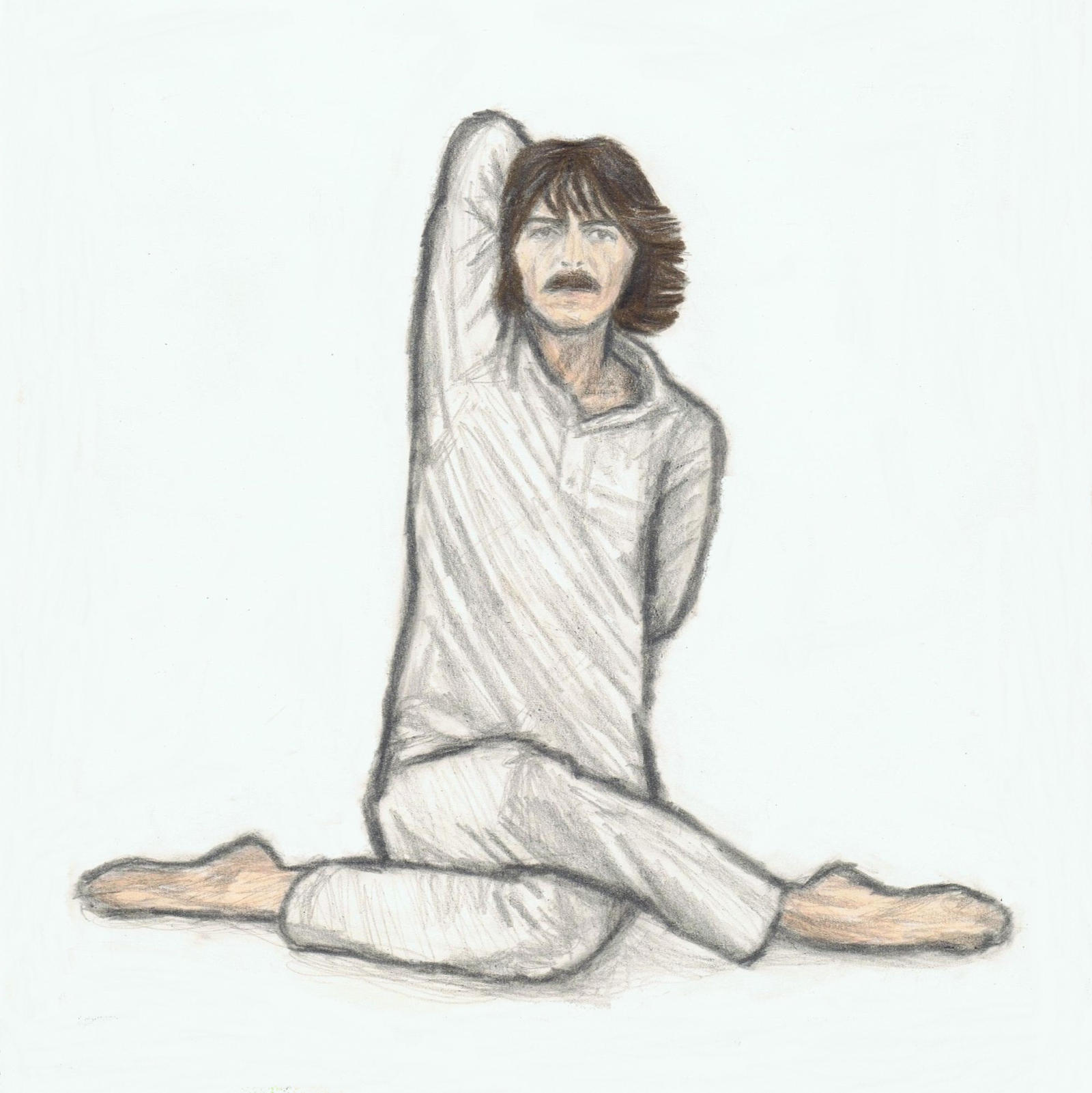 George Harrison doing yoga (cow face pose) by gagambo