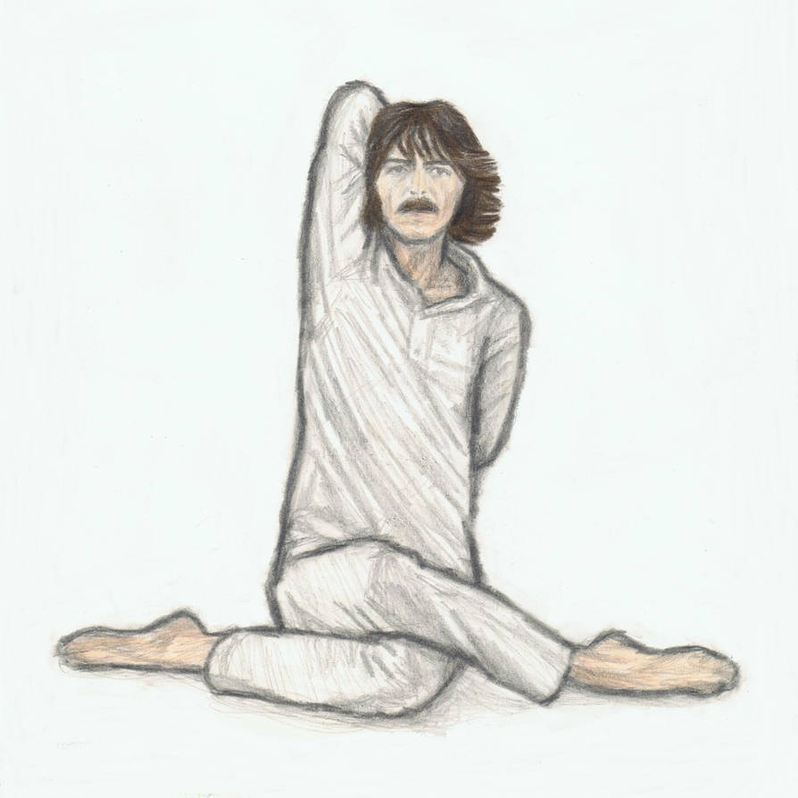 George Harrison doing yoga (cow face pose) by gagambo on
