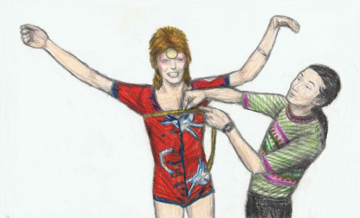 Yamamoto Kansai measures Ziggy Stardust's chest by gagambo