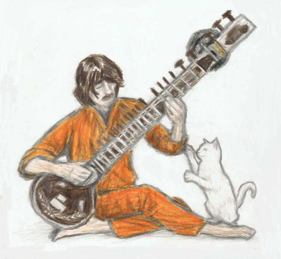 George Harrison disturbed by his cat by gagambo