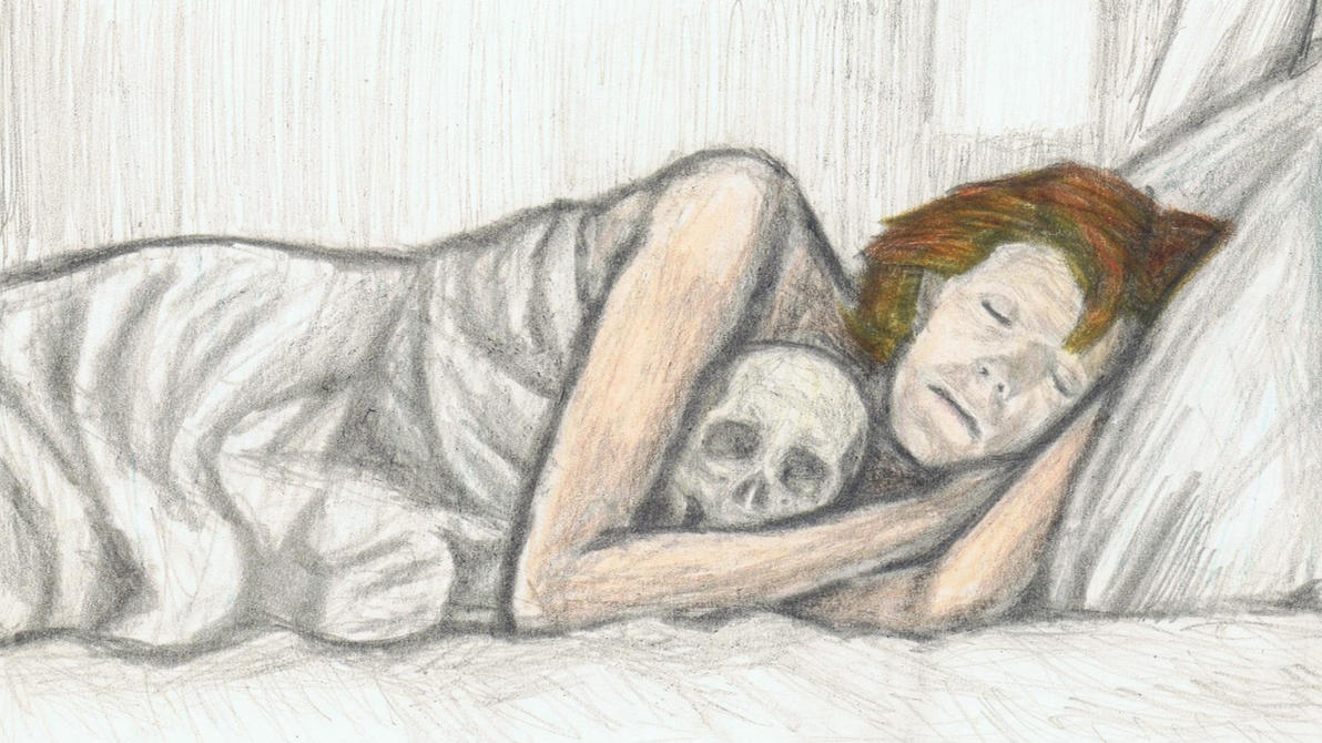 Cracked Actor in bed with a skull by gagambo