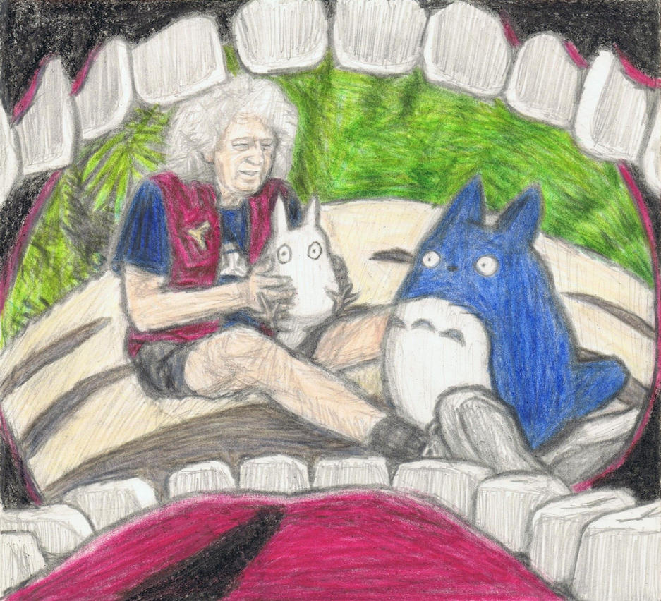 Brian May on Totoro's stomach by gagambo