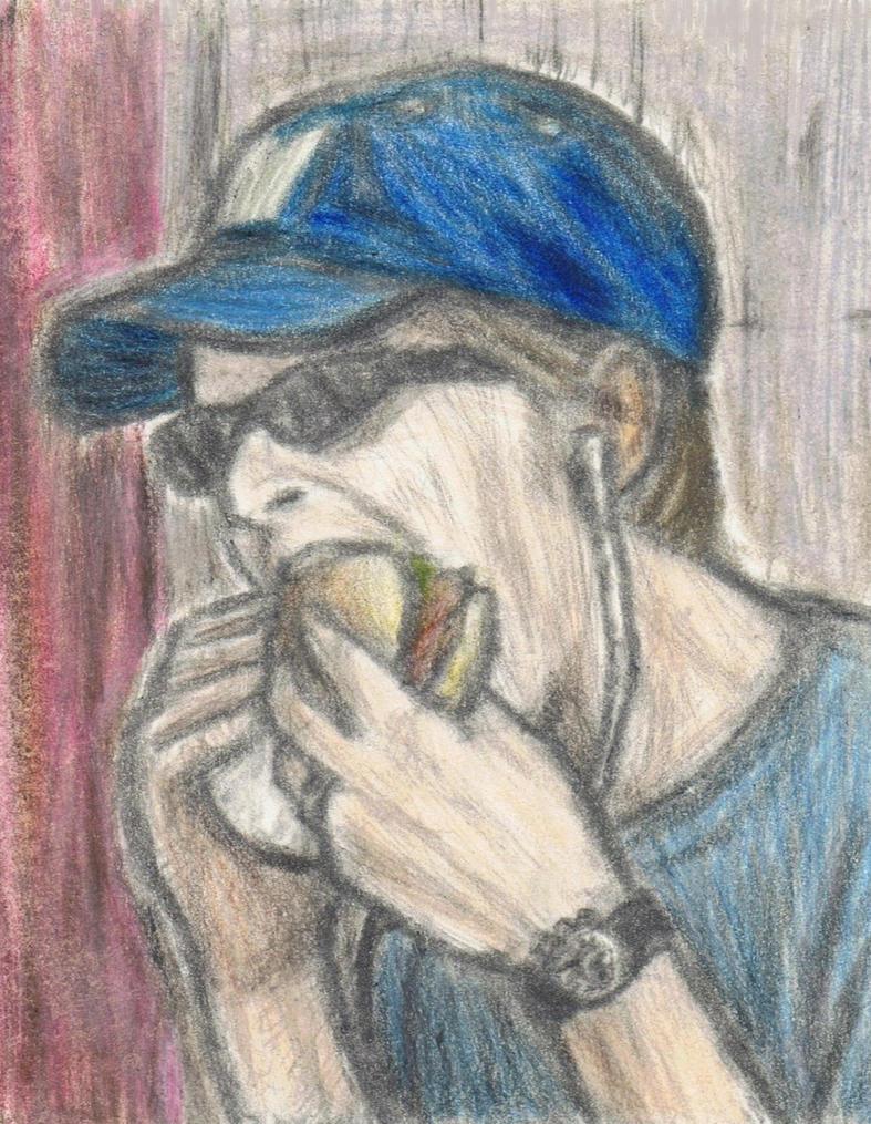 David Bowie eating a hamburger by gagambo
