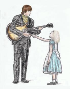 John Lennon shaking hands with Alice