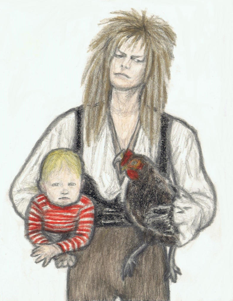 Jareth carrying Toby and a chicken by gagambo