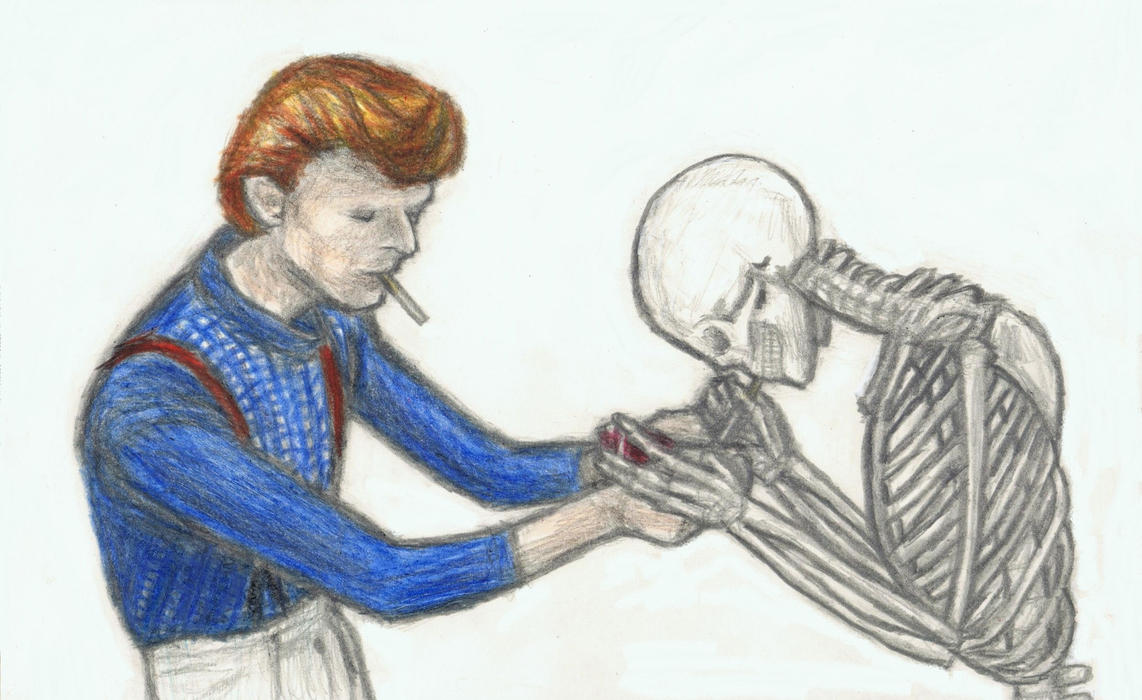 Cracked Actor lights a cigarette for the skeleton by gagambo