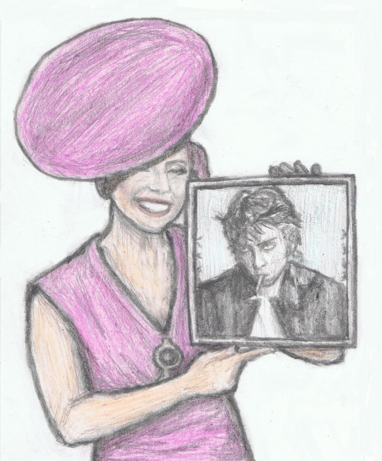 Lady Gaga with a framed photo of Jo Calderone by gagambo