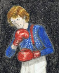 Boxer Bowie does his fighting pose by gagambo