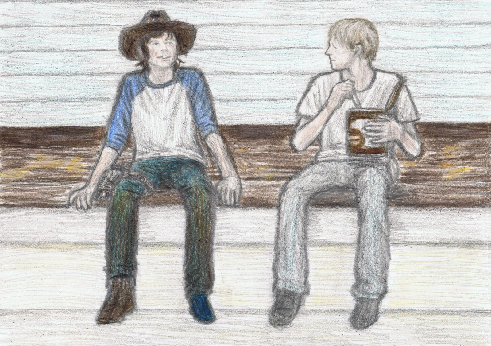 Carl Grimes with Mingus Reedus by gagambo