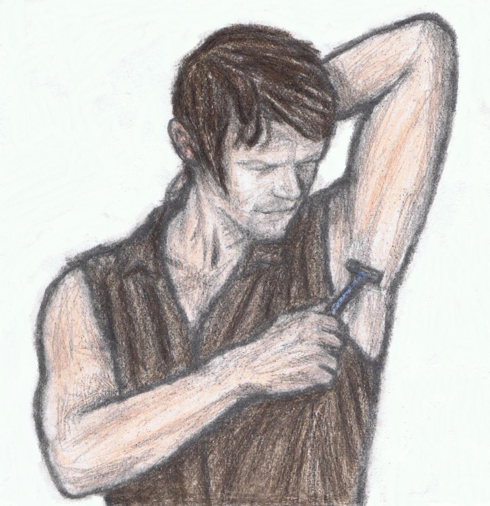 Daryl Dixon shaving his armpit by gagambo