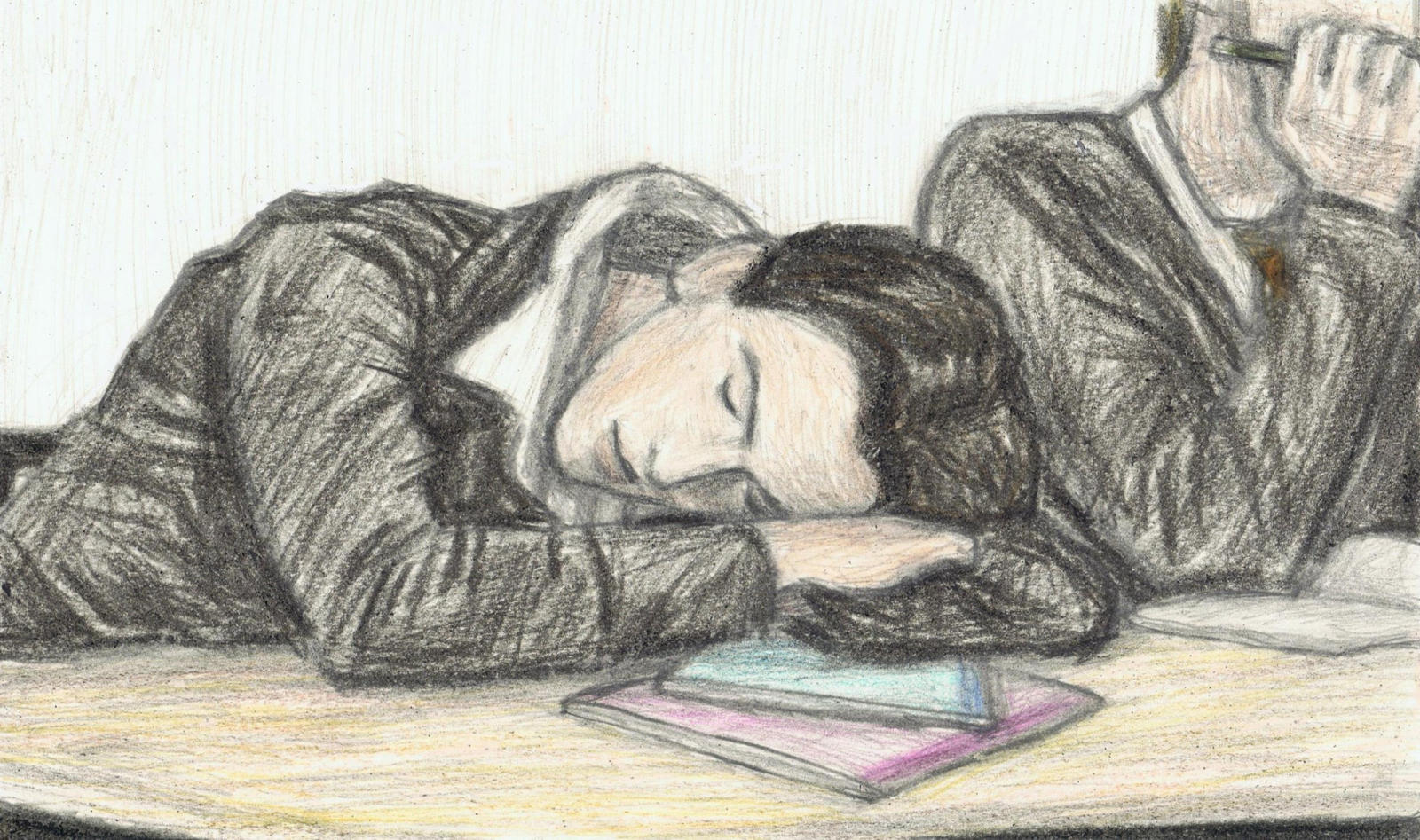 Teenage George Harrison dozing off in class by gagambo