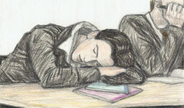 Teenage George Harrison dozing off in class