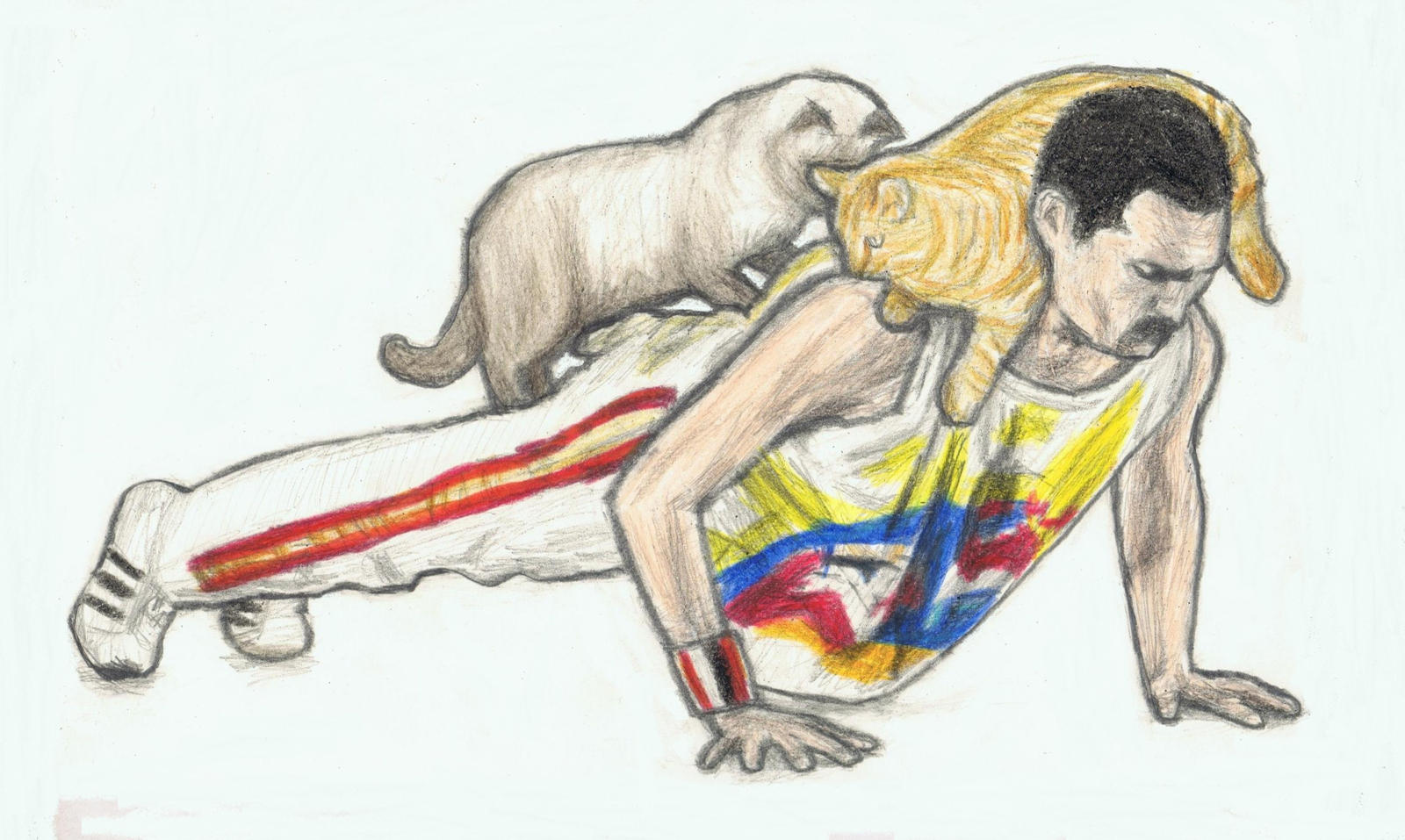 Freddie doing pushups with his cats on his back by gagambo