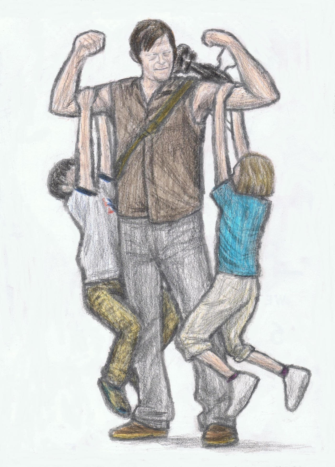 Carl and Sophia hanging on Daryl's arms by gagambo