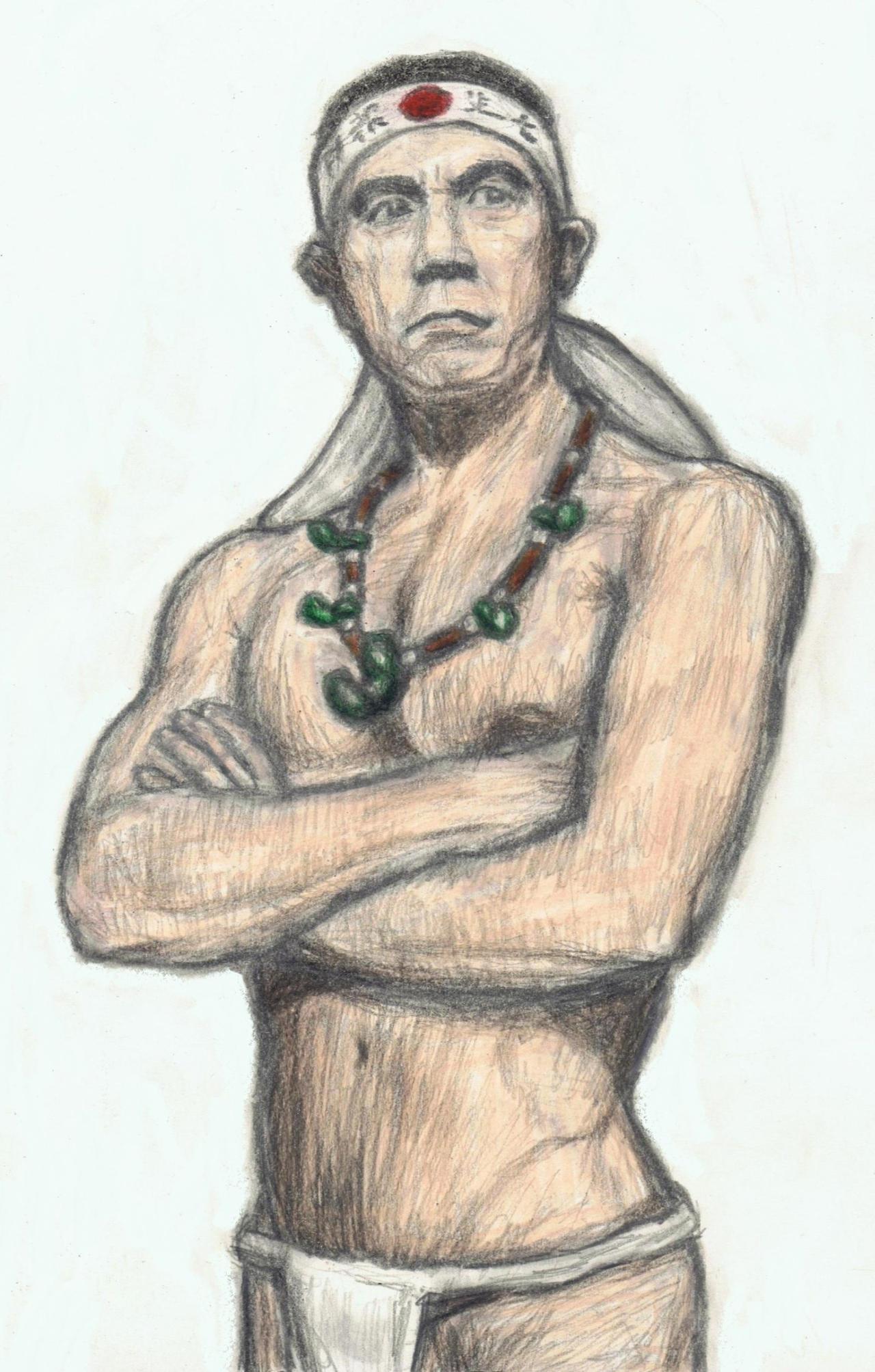 Mishima Yukio wearing magatamas round his neck by gagambo