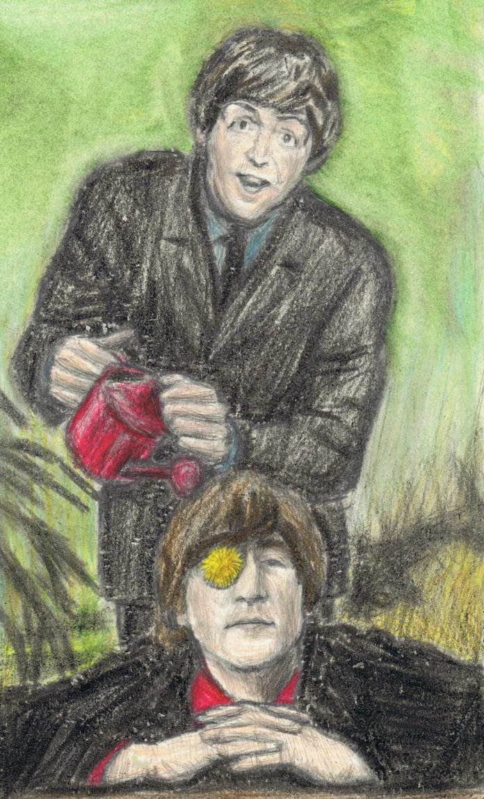 Paul McCartney watering John Lennon's flower by gagambo