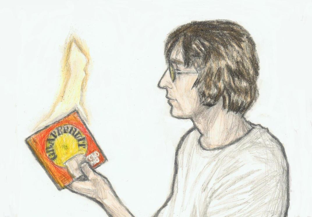 John Lennon burning Yoko Ono's book by gagambo