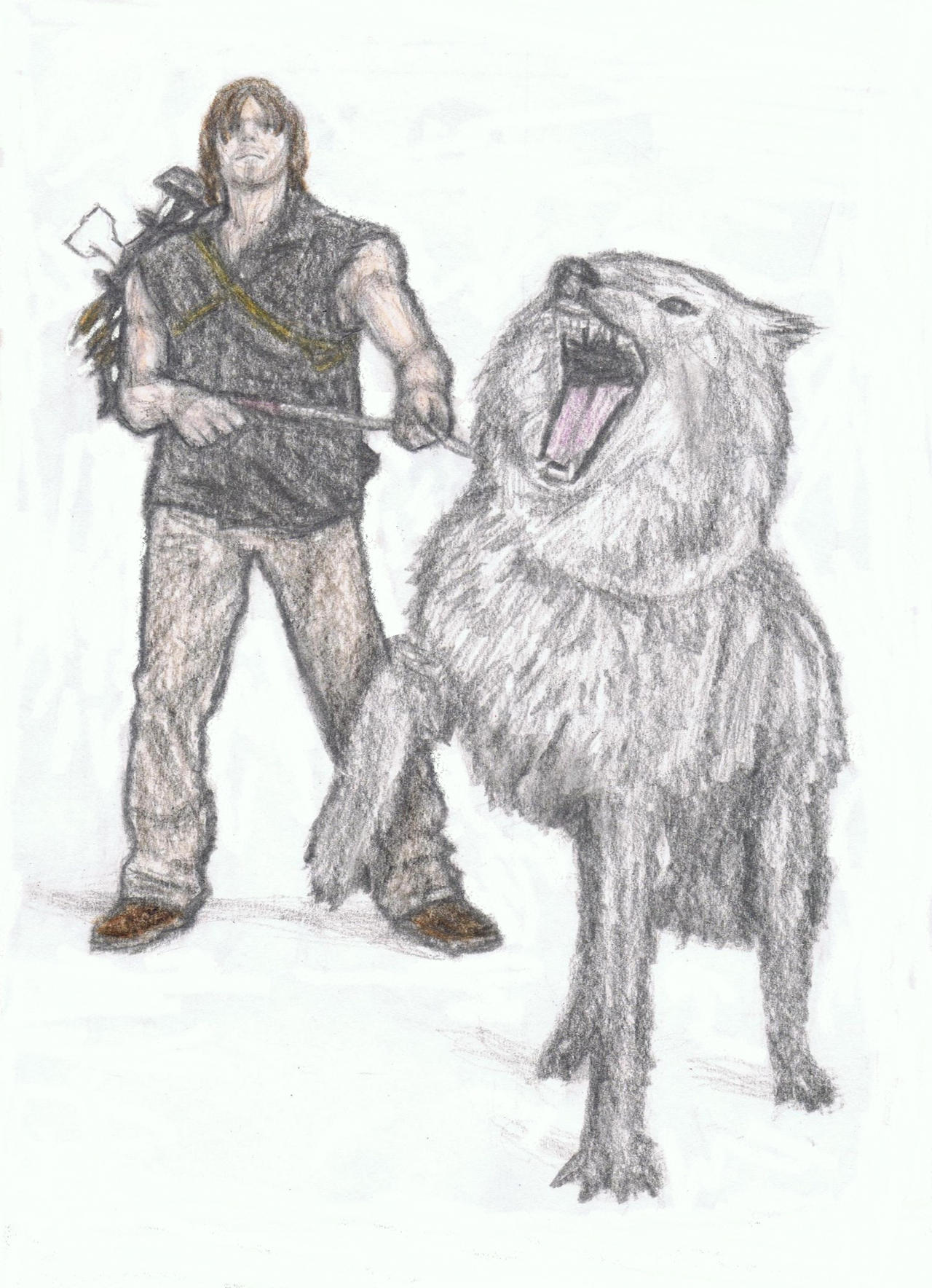 Daryl Dixon with a wolf by gagambo